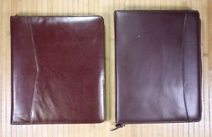 2 Faux Leather Zipper Binders Portfolio Handles Notepad Organizer Legal Pad