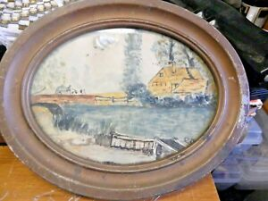 Vintage Ornate Metal Frame Oval Pictures 10 Oval Old Frame And Water Painting