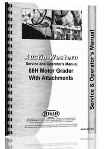 Service Operators Austin Western 88h Grader Manual Sn H88152 Up