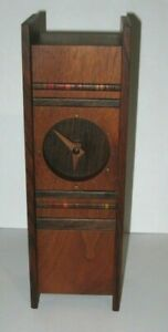 Vintage 1980 Robert Mckeown Handcrafted Wood Table Clock