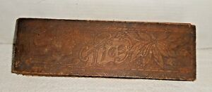 Vintage Pyrography Wooden Box With Hinged Lid For Ties Neckties 11 3 4 Long