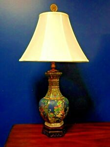 Exquisite Pair Of 32 Tall Chinese Porcelain Hex Vase Lamps