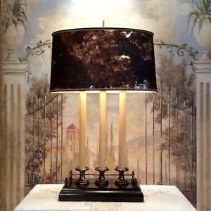 Vintage Wood And Brass Bouillotte Lamp