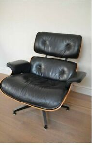 Eames Black Leather Rosewood Lounge Chair Ottoman Herman Miller 1980 Original