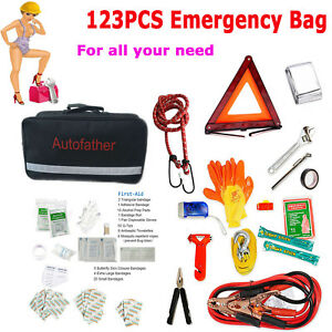 123 pieces Roadside Assistance Car Emergency Kit First Aid Kit Rugged Tool Bag