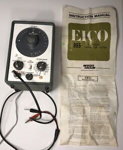 Vintage Eico Model 955 In Circuit Capacitor Tester with Original Manual works