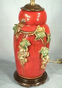 Vintage Mid Century Red Majolica Pottery Lamp With Raised Leaves And Ladybug