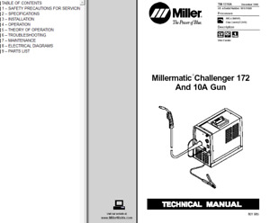 Miller Millermatic Challenger 172 And 10a Gun Service Technical Manual