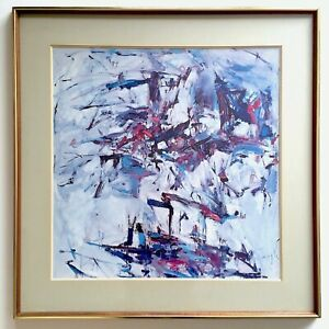 Joan Mitchell Rare Vtg 1967 Framed Lithograph Print George Went Swimming 1957