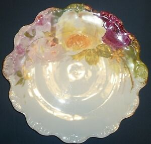 Hand Painted Limoges Charger 12 5 Inches Roses Coiffe Flambeau