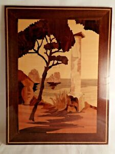 Marquetry Wood Inlay House With European Ocean With Greek Column Scene Wall Art