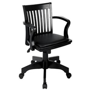 Office Star Black Wood vinyl Padded Seat Banker s Desk Executive Chair