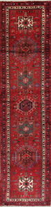 Alluring Palace Sized Geometric 3x14 Wool Persian Gharajeh Oriental Runner Rug