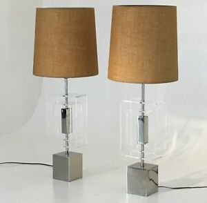 Table Lamps Laurel Lighting Lucite Chrome Vintage Mid Century Modern Vintage