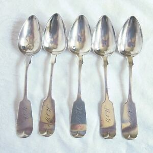 Coin Silver Spoons Haight And Sterling 1841 Newburgh Ny Antique Set Of 5