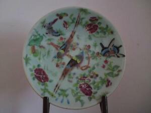 Antique Chinese Celadon Famille Rose Porcelain Plate