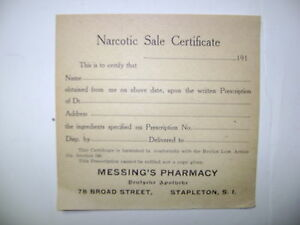 Old Narcotic Apothecary Pharmacy Medicine Bottle Label Certificate