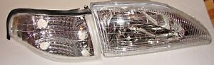 Real 94 98 Ford Mustang Cobra Clear Headlights Corners Pair Depo 96 97 4pc Set