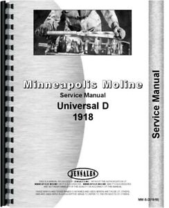 Service Manual 1918 Minneapolis Moline D Universal Tractor