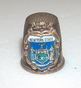 Antique Silver Thimble With Color Enamel Shield New York State Seal Excelsior