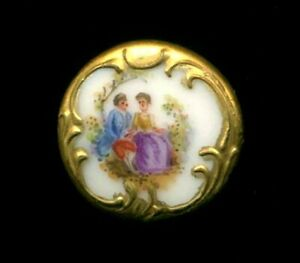 Antique Button Very Pretty Hand Painted Porcelain Couple W Fancy Gold Border 1