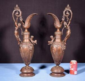 24 Pair Of French Antique Bronzed Spelter Urns Vases Ewers With Figures