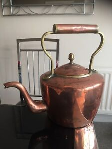Antique Victorian Very Large Copper And Brass Kettle Or Teapot Riveted Handmade