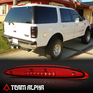Fits 1997 2002 Ford Expedition Chrome Red Led Third 3rd Brake Light Tail Lamp