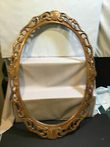 Walnut Hand Carved Large Oval Vintage Picture Frame