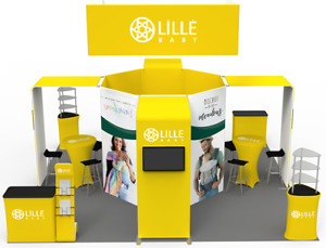 20 x20 Tension Fabric Trade Show Display Exhibit Booth