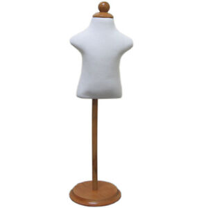 Mn 302 White Infant Child Dress Form W Adjustable Wood Stand sizes 6mo 12mo