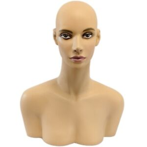Mn 508 Female Mannequin Head Display Form With Shoulder Bust