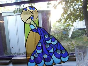 Stained Glass Window Panel Suncatcher Royal Peacock Art Deco On Sale