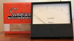 Simpson Century Style Analog Panel Meter Model 2124 0 5 Dc Volts 1000 Ohms volt