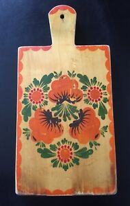Vintage Wood Cutting Board Hand Painted Wall Hanging Toleware Cutting Board