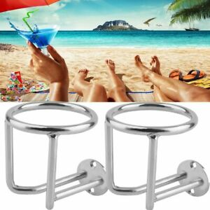 2pc Stainless Steel Beverage Cup Drink Holder Marine Boat Car Truck Camper Rv