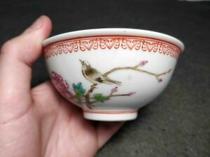 Rare Antique Chinese Porcelain Republic Bowl W Bird And Calligraphy Marked