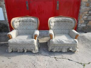 2 Lank Of Lexington N C Arm Chairs With Wood Trim Wide Wingback Back Rest
