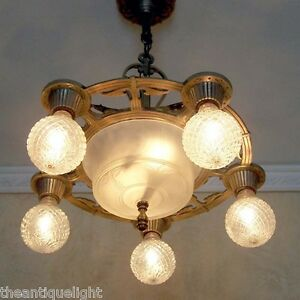 632 Vintage 20s 30 S Ceiling Light Lamp Fixture Chandelier Polychrome Re Wired