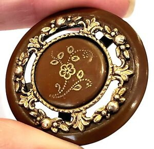 Vintage Button Celluloid W Complex Construction Incised Flower Fancy Brass
