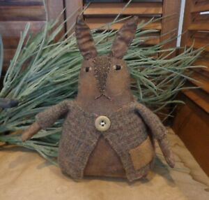 Primitive Spring Stump Bunny Rabbit Brown Bunny Gray Wool Coat Cupboard Bowl