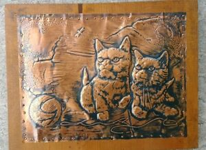 Vintage Hammered Copper Wood Repousse Wall Art Plaque Cat Kittens