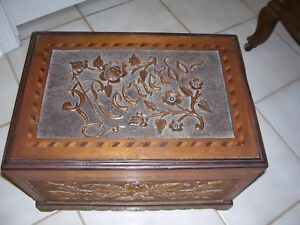 Vintage Wood Carved Trunk Box Chest Red Velvet Interior W Unique Picture Frames