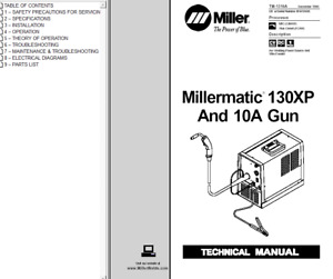 Miller Millermatic 130xp And 10a Gun Service Technical Manual