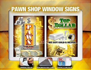 Pawn Shop We Buy Gold Silver Coins Cash Window Signs Poster Banner Neon