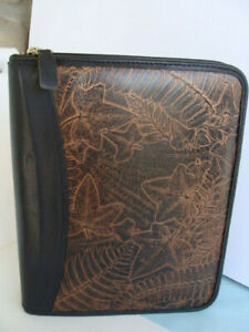 Classic 1 5 Rings black Brown Tooled Leather Franklin Covey Zip Planner binder