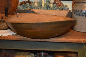 Antique 19thc Primitive Painted Umber Dough Trencher Treen Turned Bowl Aafa