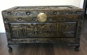 Antique Hand Carved Chinese Sandalwood Wood Trunk Box Hope Chest