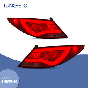 Rear Lamp Red Clear Led Tail Lights Fit 12 17 Hyundai Accent Verna Solaris