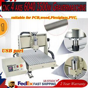 Cnc 6040t 4axis Router Engraving Machine Drilling Milling Pvc 1500w Wood Pcb Usb